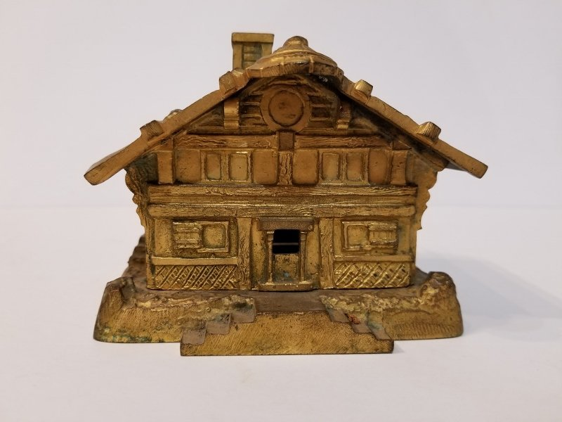 Gilt bronze Japanese hut box, c.1900