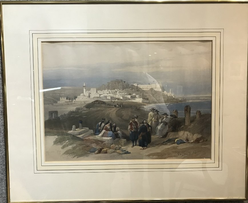 Hand colored lithograph of Jaffa, 1839 by David Roberts