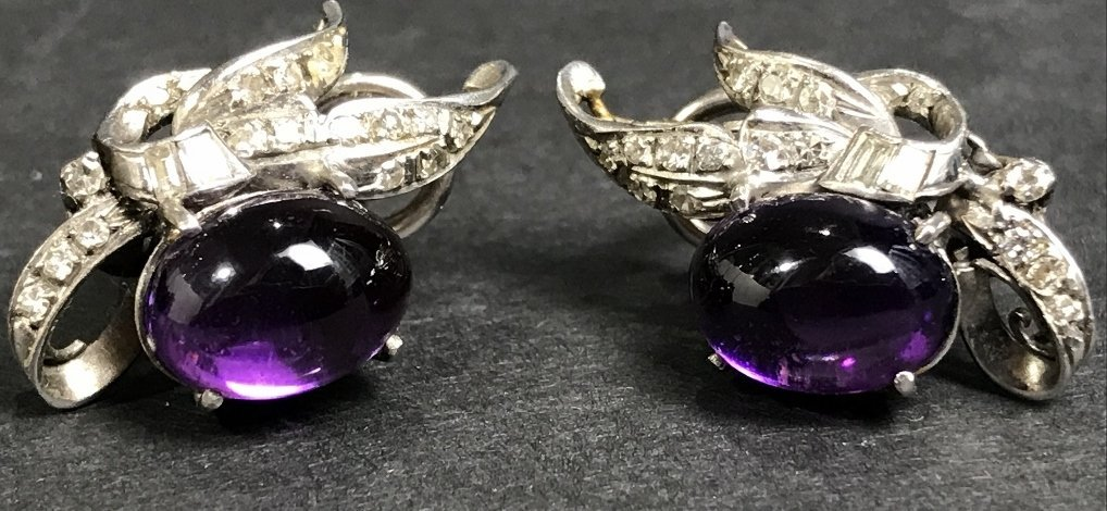 14k amethyst diamond earrings,circa 1930, 5.1dwts
