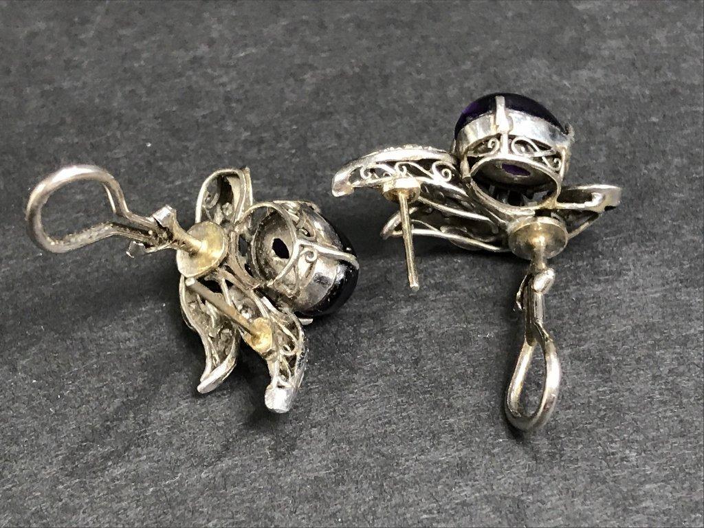 14k amethyst diamond earrings,circa 1930, 5.1dwts - 4