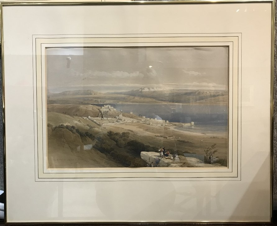 Hand colored lithograph of Tiberias,1839, David Roberts