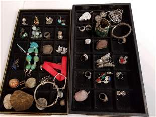 Forty-two silver jewelry and items in 2 trays