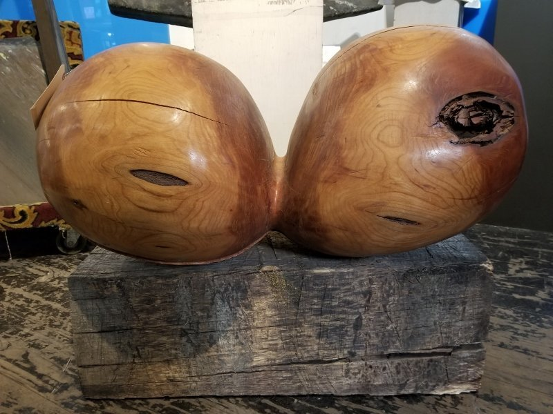Wood sculpture by Ron Street, two balls, circa 1970.