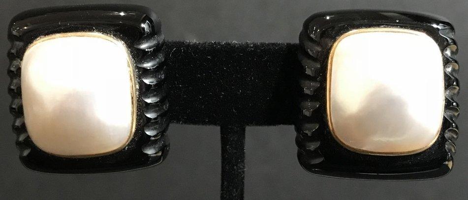 14k black onyx mabe pearl earrings