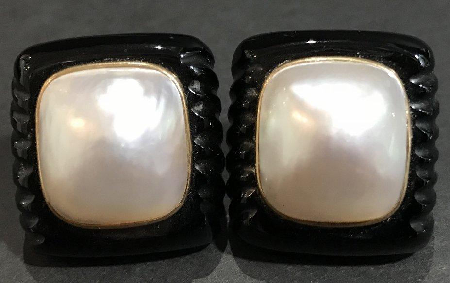 14k black onyx mabe pearl earrings - 2