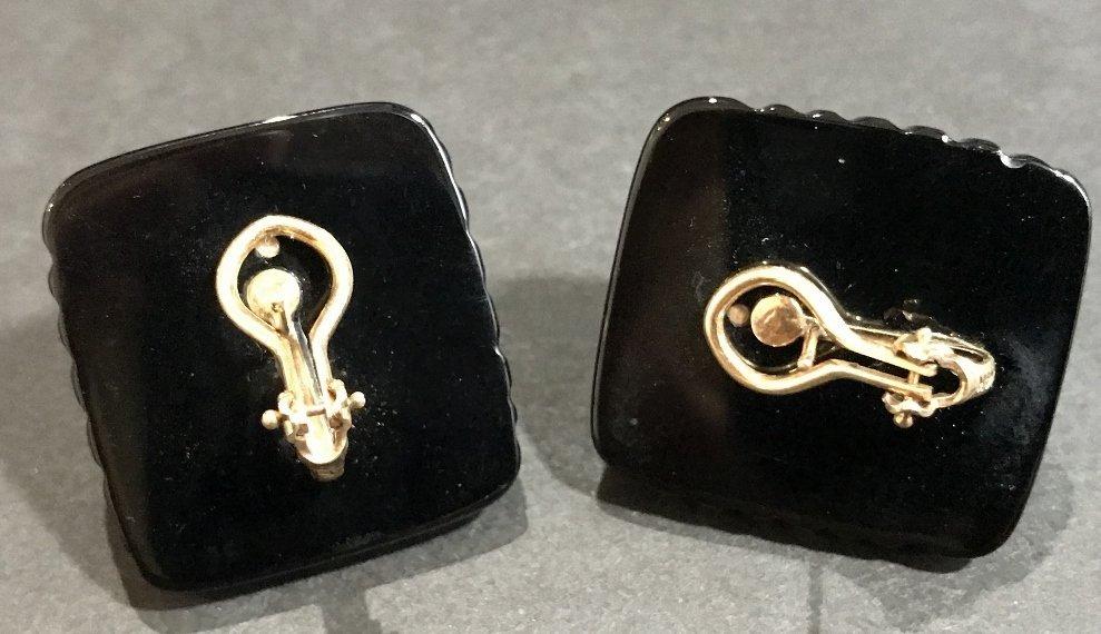 14k black onyx mabe pearl earrings - 4