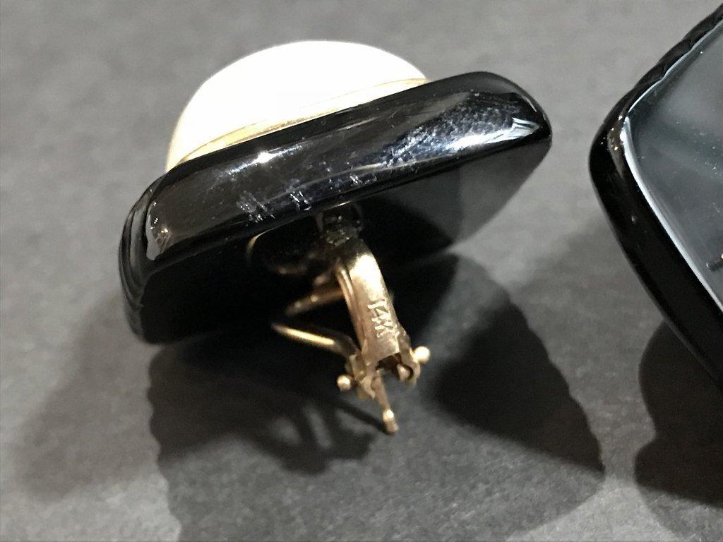 14k black onyx mabe pearl earrings - 5