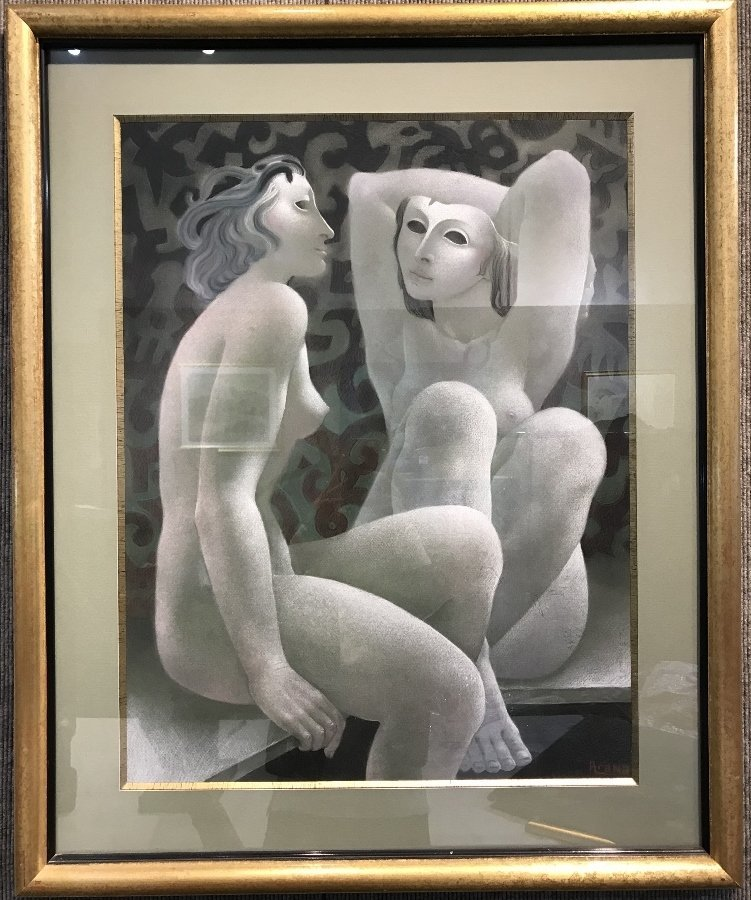 """Green pastel of figures by Alfonso Arana,, 19"""" x 24""""."""