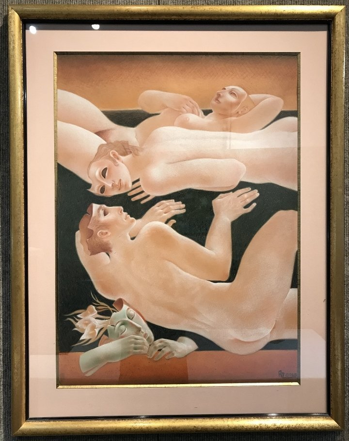 """Pink pastel of figures by Alfonso Arana, 21"""" x 29"""""""
