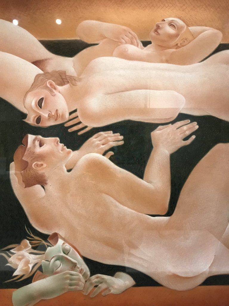 """Pink pastel of figures by Alfonso Arana, 21"""" x 29"""" - 2"""
