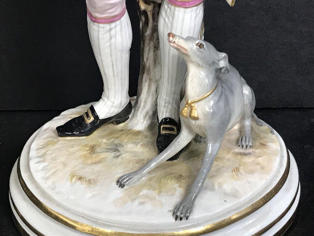 Meissen 18th cent gentleman training dog, c.1900 - 4