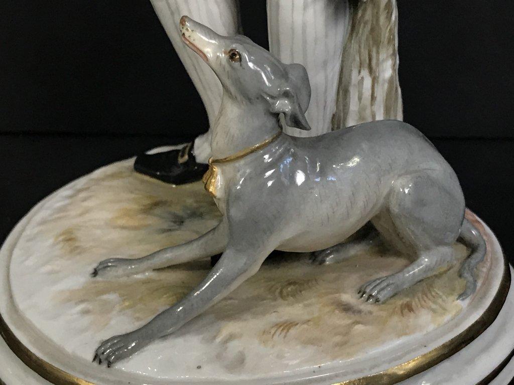 Meissen 18th cent gentleman training dog, c.1900 - 8