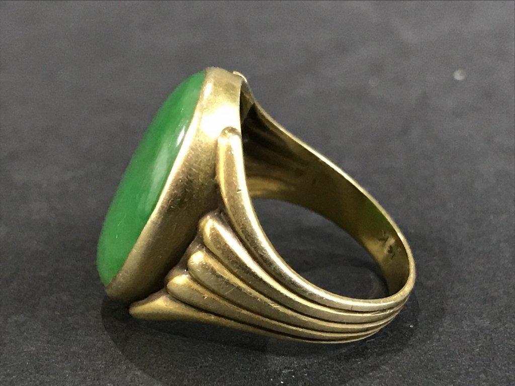 14k jade ring, 5.3 dwts, circa 1930. - 2
