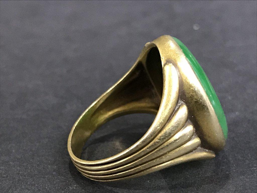 14k jade ring, 5.3 dwts, circa 1930. - 4