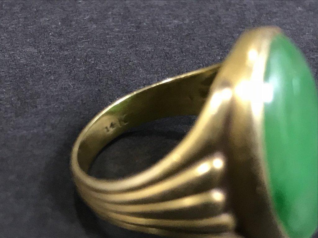 14k jade ring, 5.3 dwts, circa 1930. - 5