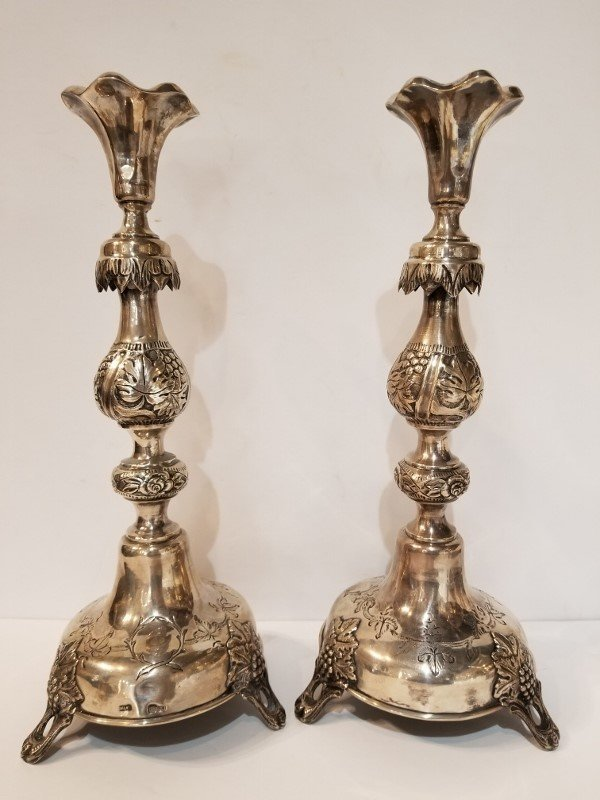 Pair of Russian silver candlesticks, dated 1893