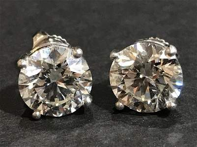 3.01 and 3.12 carat, stud earrings, platinum