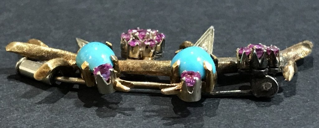 18k ruby, dia and turquoise bird pin, c.1950, 5 dwts - 6