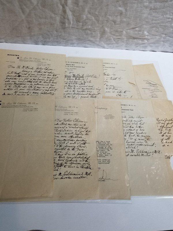 Orig artist Louis Eilshemius letters, 1920's