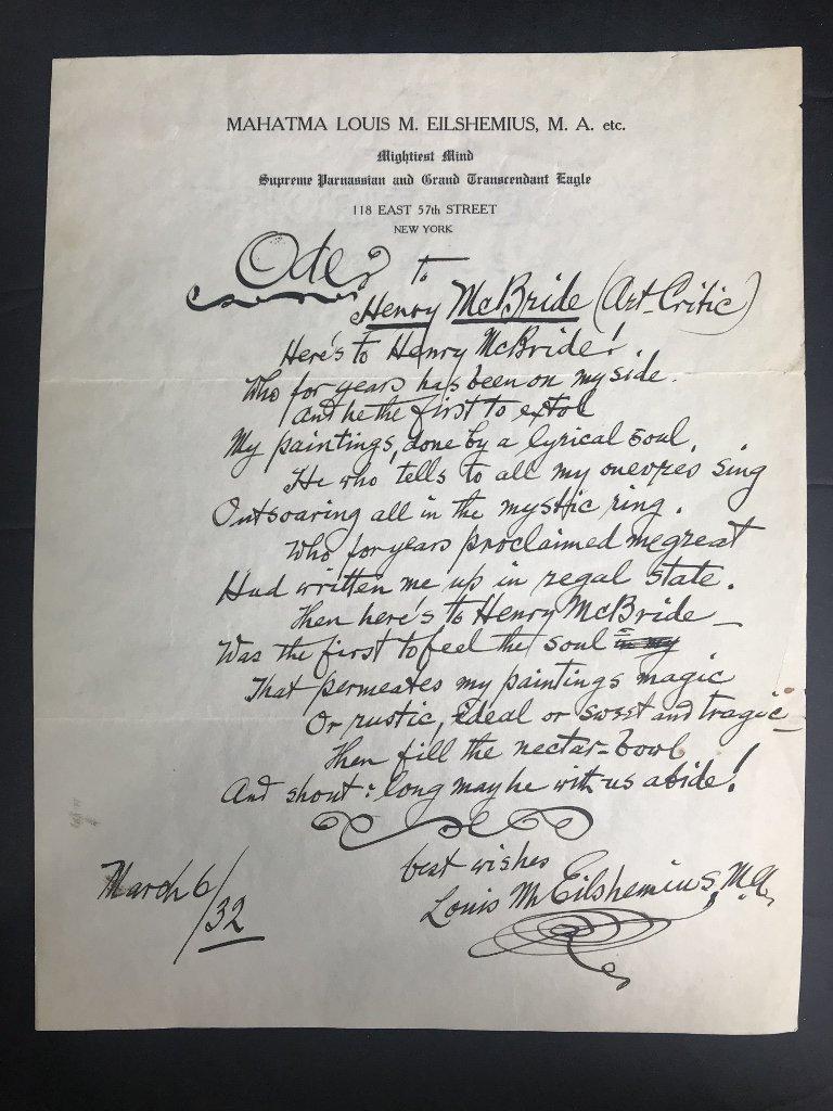 Orig artist Louis Eilshemius letters, 1920's - 2
