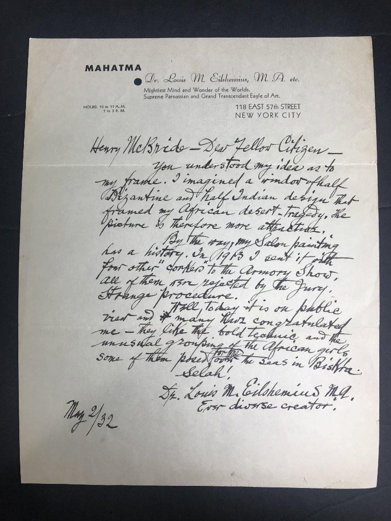 Orig artist Louis Eilshemius letters, 1920's - 3
