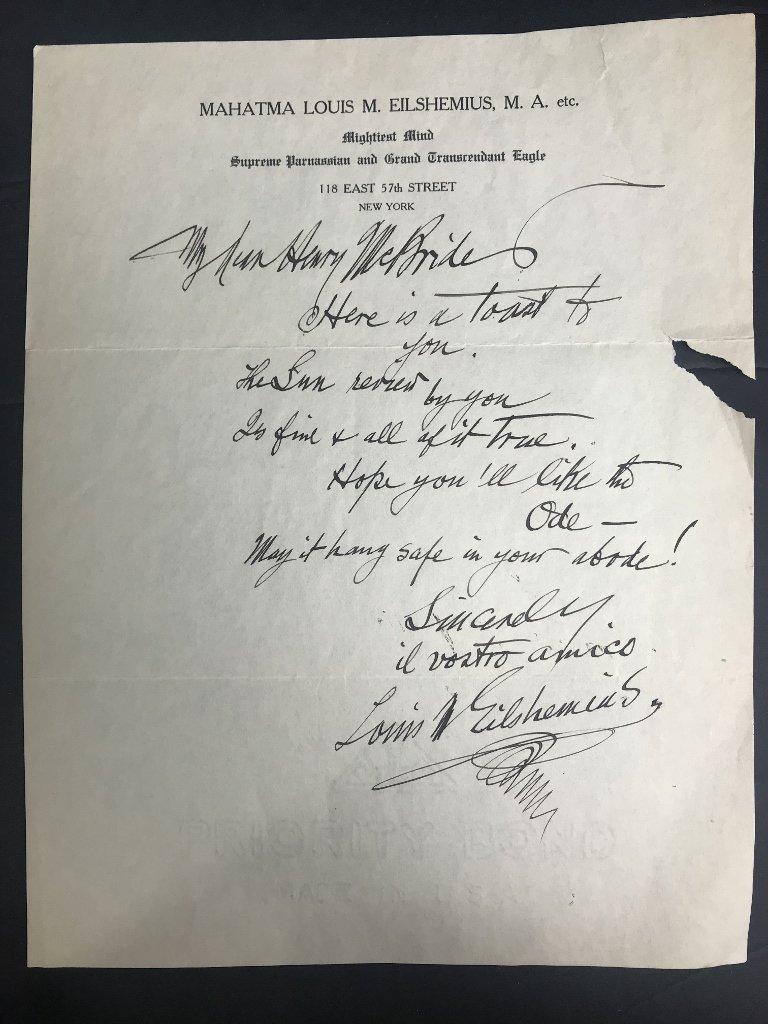 Orig artist Louis Eilshemius letters, 1920's - 4