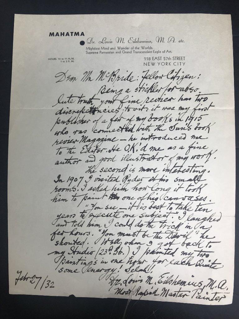 Orig artist Louis Eilshemius letters, 1920's - 5