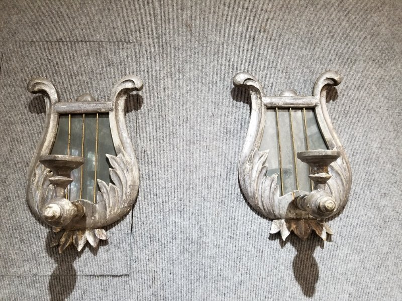 Pair of silvered wood mirror sconces, c.1930