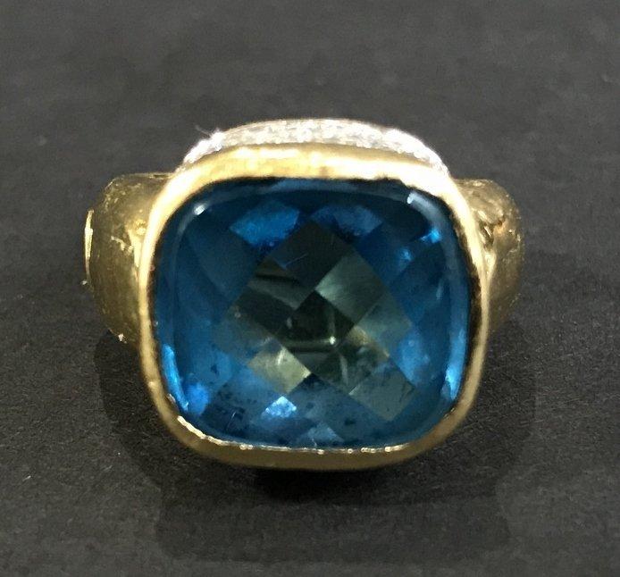 18k diamond and topaz ring, 8.9 dwts