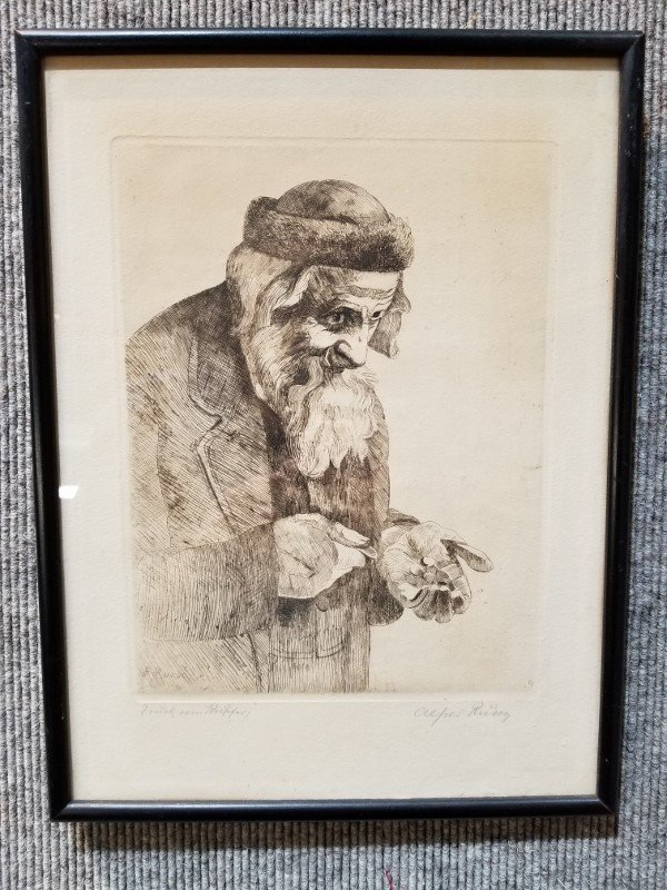 Etching of Shylock by Alfred Russo, c.1900