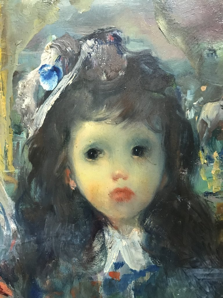 Painting of girl by Jean Calogero,circa 1965 - 4