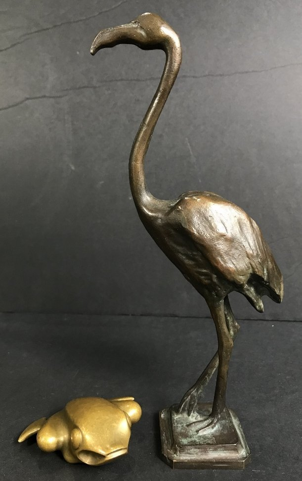 Bronze stork and frog, Georg Jensen