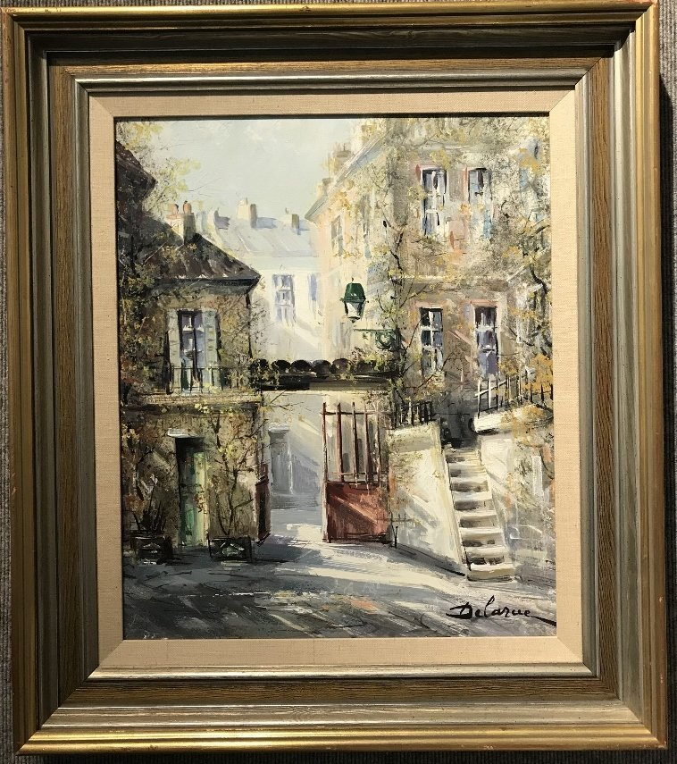 Painting of French village by Lucien Delarue