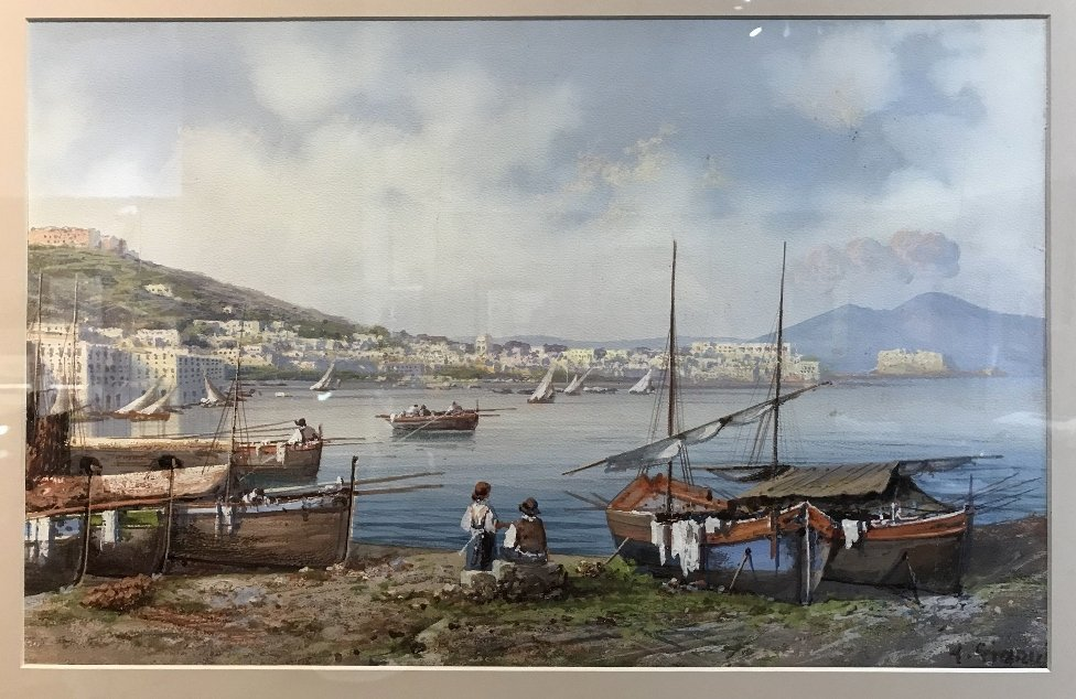 Gouache of Italian coast, signed A.Giaru(?) 1900