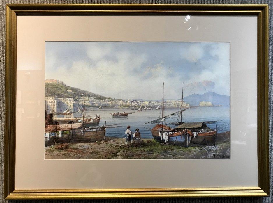 Gouache of Italian coast, signed A.Giaru(?) 1900 - 3
