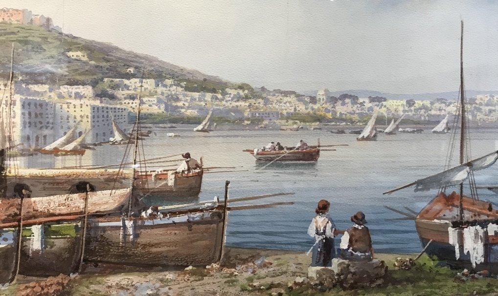 Gouache of Italian coast, signed A.Giaru(?) 1900 - 4