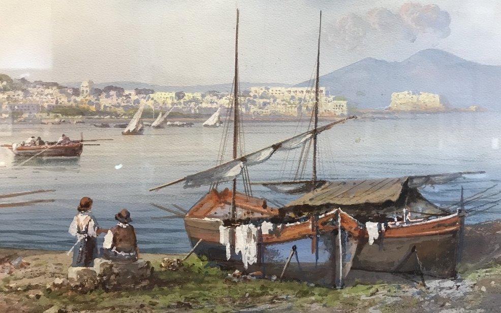 Gouache of Italian coast, signed A.Giaru(?) 1900 - 5