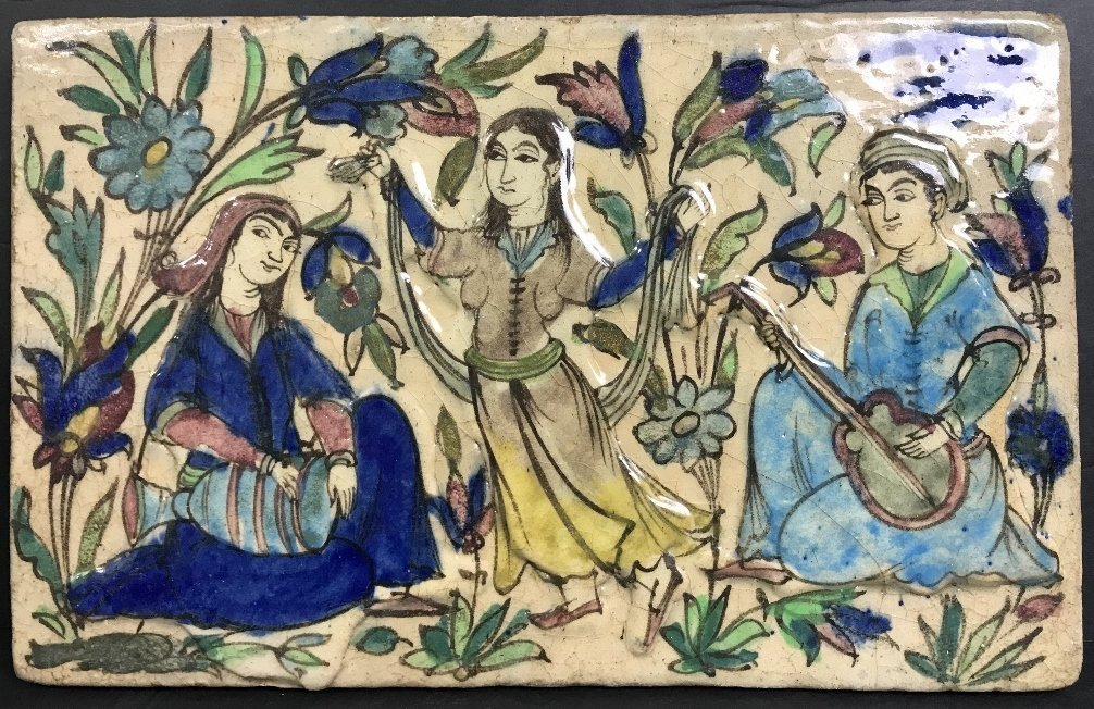 Persian glazed tile, musicians and dancers