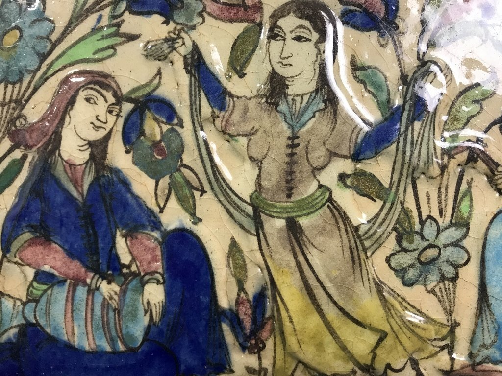 Persian glazed tile, musicians and dancers - 2