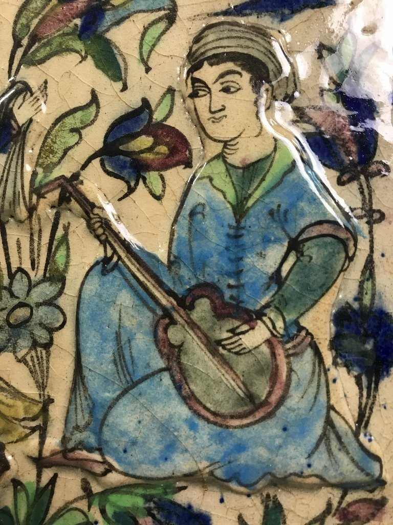 Persian glazed tile, musicians and dancers - 3