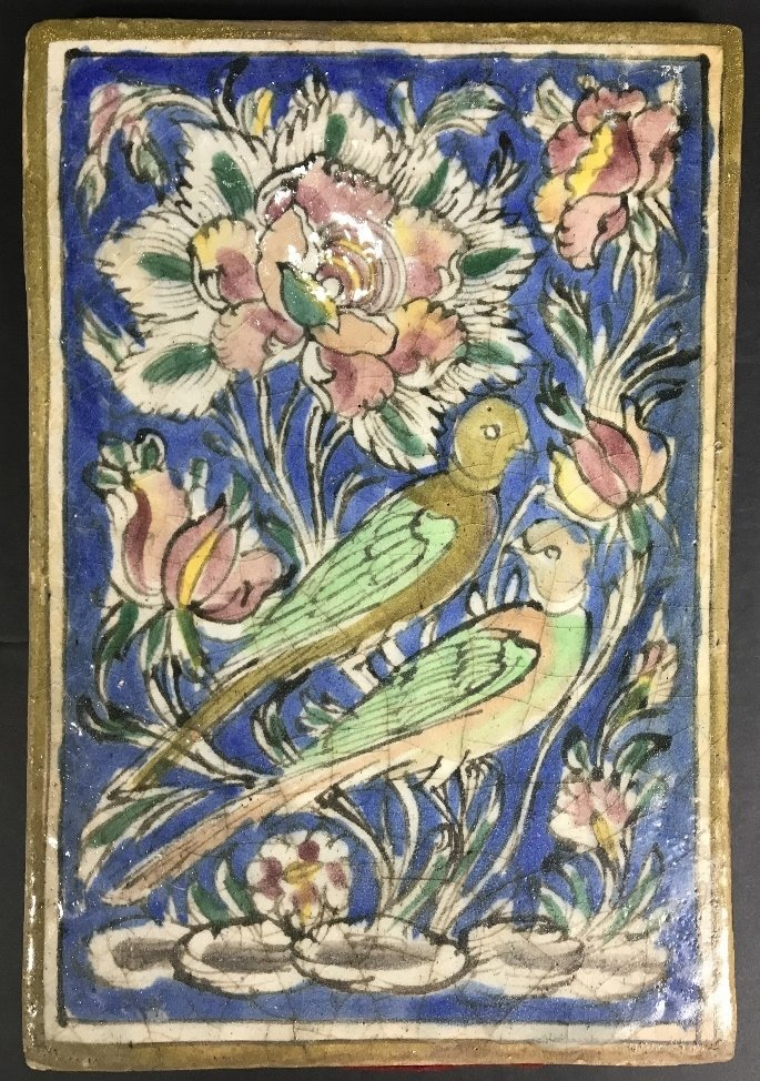 Persian glazed tile, birds