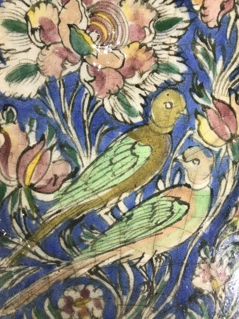 Persian glazed tile, birds - 2