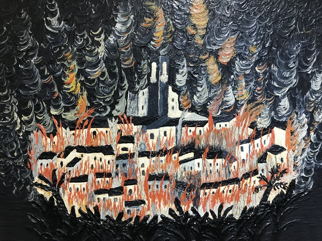 Painting of burning village by Michel Delacroix, c.1950 - 3