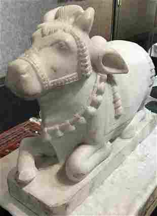 Marble temple cow, circa 1950-Hindu