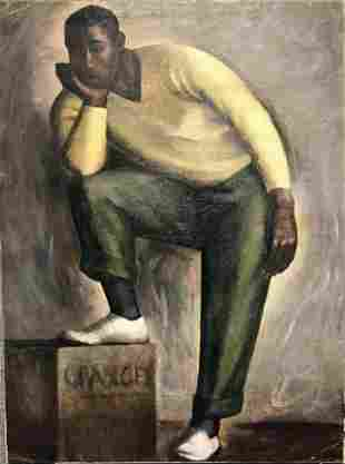Painting of man with orange crate, Adelaide Briggs