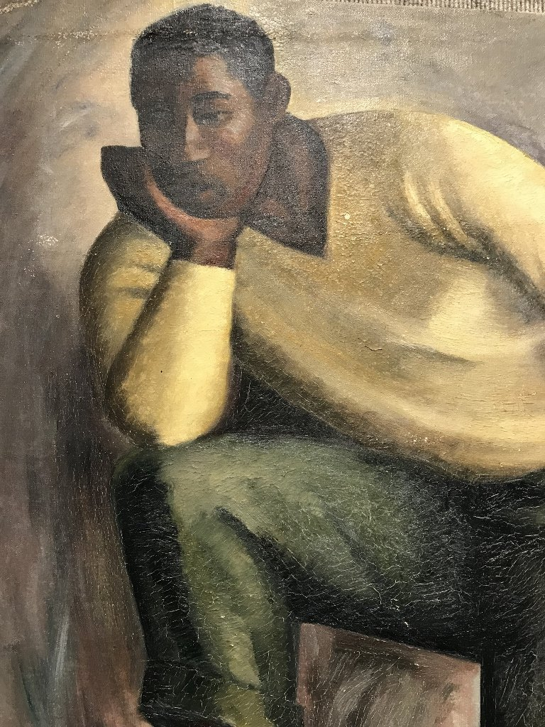 Painting of man with orange crate, Adelaide Briggs - 4