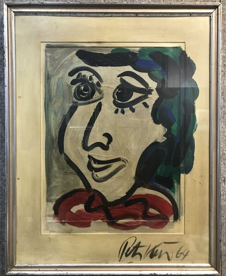 Large oil on board of face by Peter Robert Keil, 1964