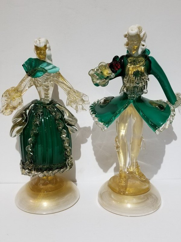 French Coutier couple,Barovier attrib,1950s Murano