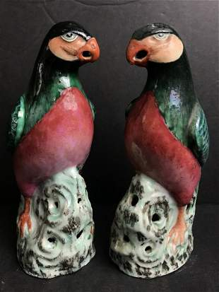 Pair of Chinese Export birds, 19th century