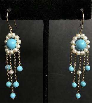 14k, turquoise and pearl earrings, 3.1 dwts